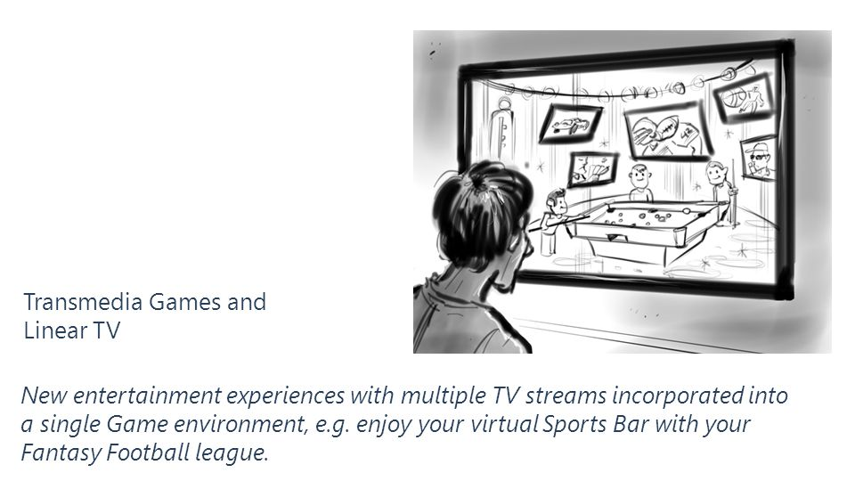 Transmedia Games and Linear TV New entertainment experiences with multiple TV streams incorporated into a single Game environment, e.g. enjoy your vir