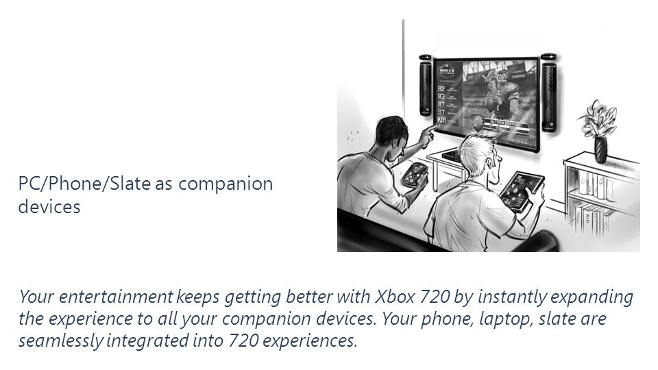 PC/Phone/Slate as companion devices Your entertainment keeps getting better with Xbox 720 by instantly expanding the experience to all your companion