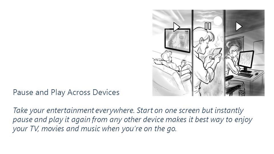 Pause and Play Across Devices Take your entertainment everywhere. Start on one screen but instantly pause and play it again from any other device make