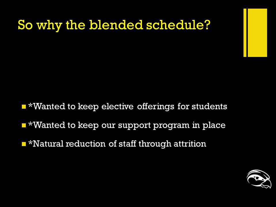 So why the blended schedule? *Wanted to keep elective offerings for students *Wanted to keep our support program in place *Natural reduction of staff