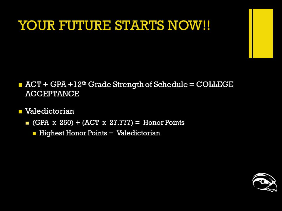 YOUR FUTURE STARTS NOW!! ACT + GPA +12 th Grade Strength of Schedule = COLLEGE ACCEPTANCE Valedictorian (GPA X 250) + (ACT X 27.777) = Honor Points Hi