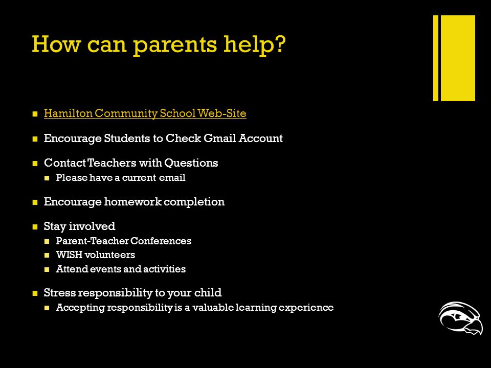 How can parents help? Hamilton Community School Web-Site Encourage Students to Check Gmail Account Contact Teachers with Questions Please have a curre