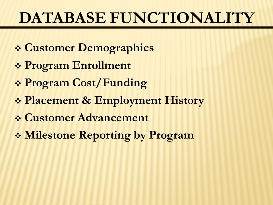 DATABASE FUNCTIONALITY  Customer Demographics  Program Enrollment  Program Cost/Funding  Placement & Employment History  Customer Advancement  M