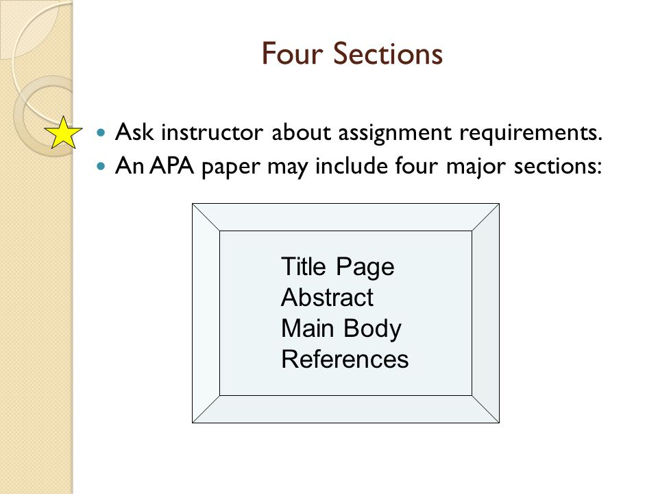 Four Sections Ask instructor about assignment requirements. An APA paper may include four major sections: Title Page Abstract Main Body References