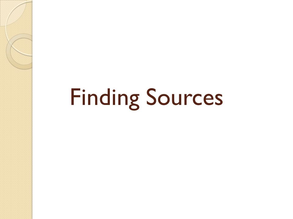 Finding Sources