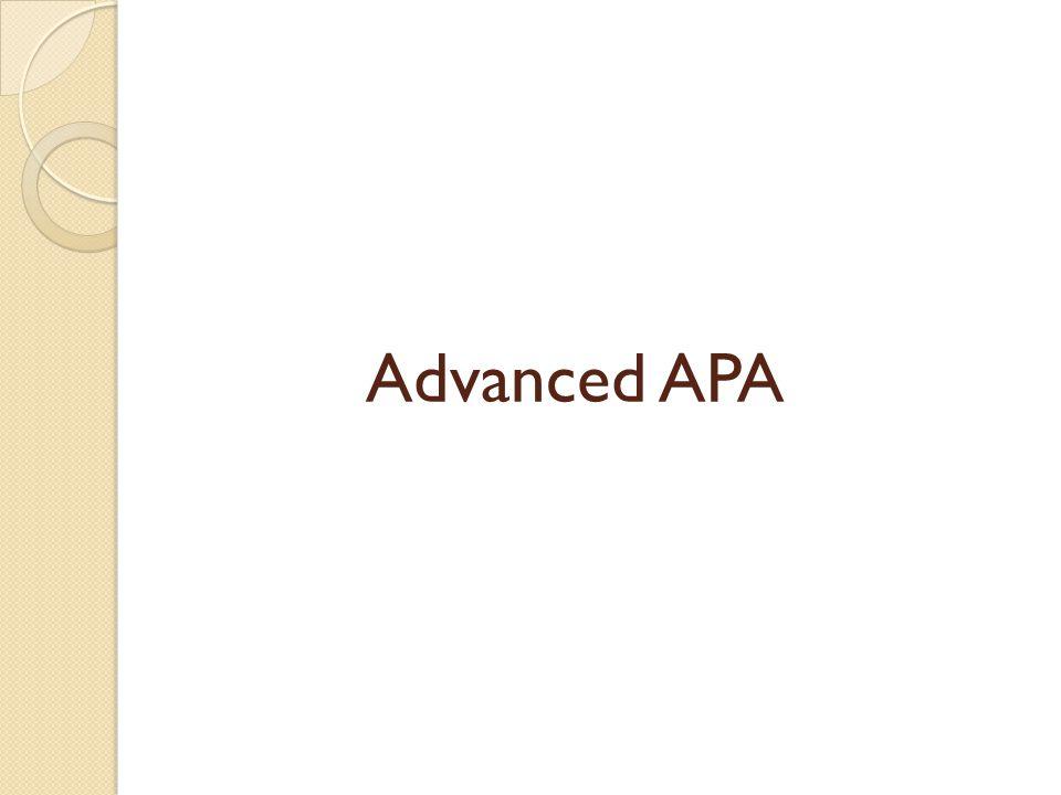 Advanced APA