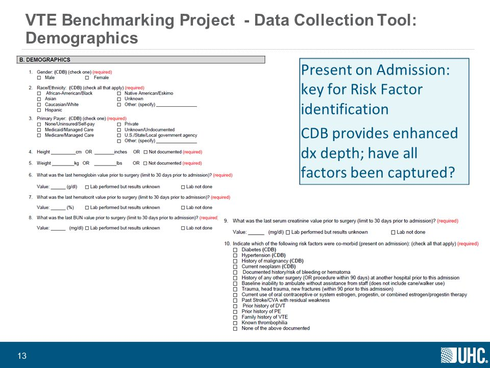 ® 13 VTE Benchmarking Project - Data Collection Tool: Demographics Present on Admission: key for Risk Factor identification CDB provides enhanced dx depth; have all factors been captured?