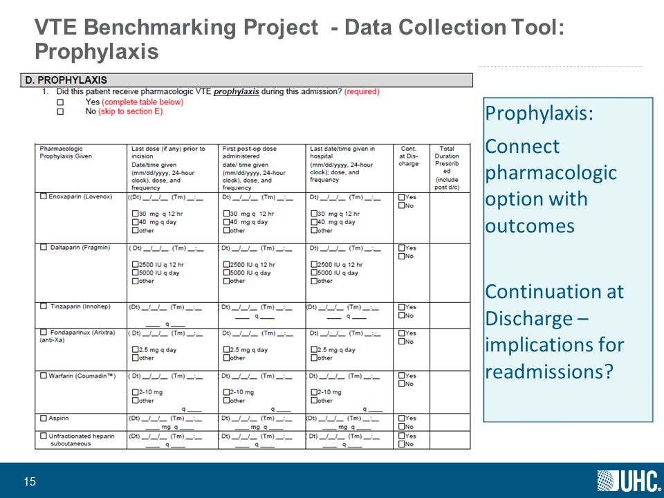 ® 15 VTE Benchmarking Project - Data Collection Tool: Prophylaxis Prophylaxis: Connect pharmacologic option with outcomes Continuation at Discharge – implications for readmissions?