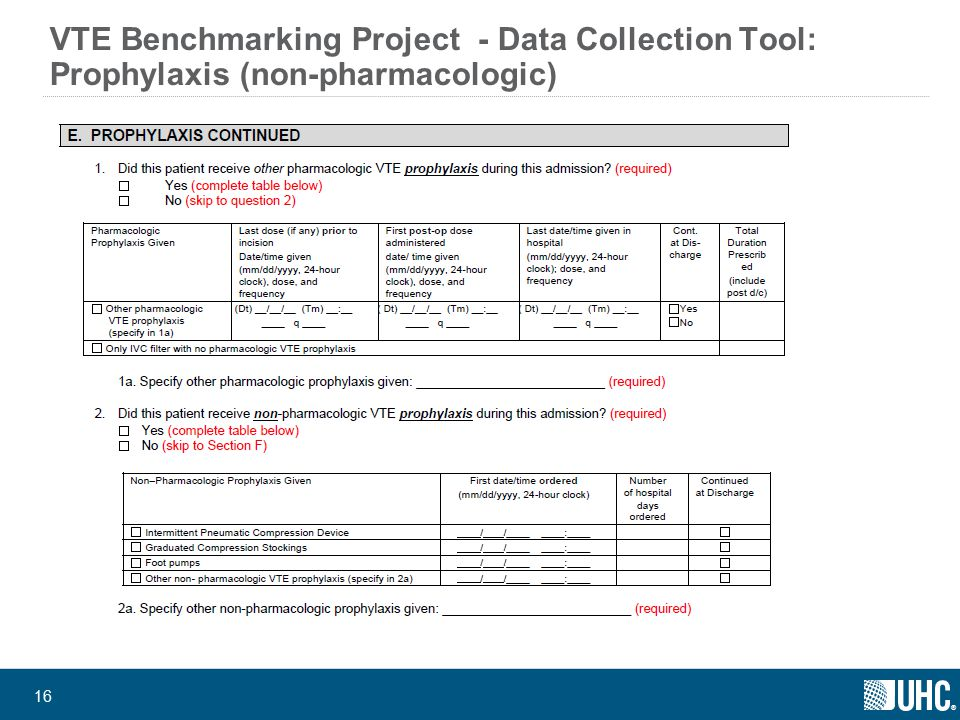 ® 16 VTE Benchmarking Project - Data Collection Tool: Prophylaxis (non-pharmacologic)