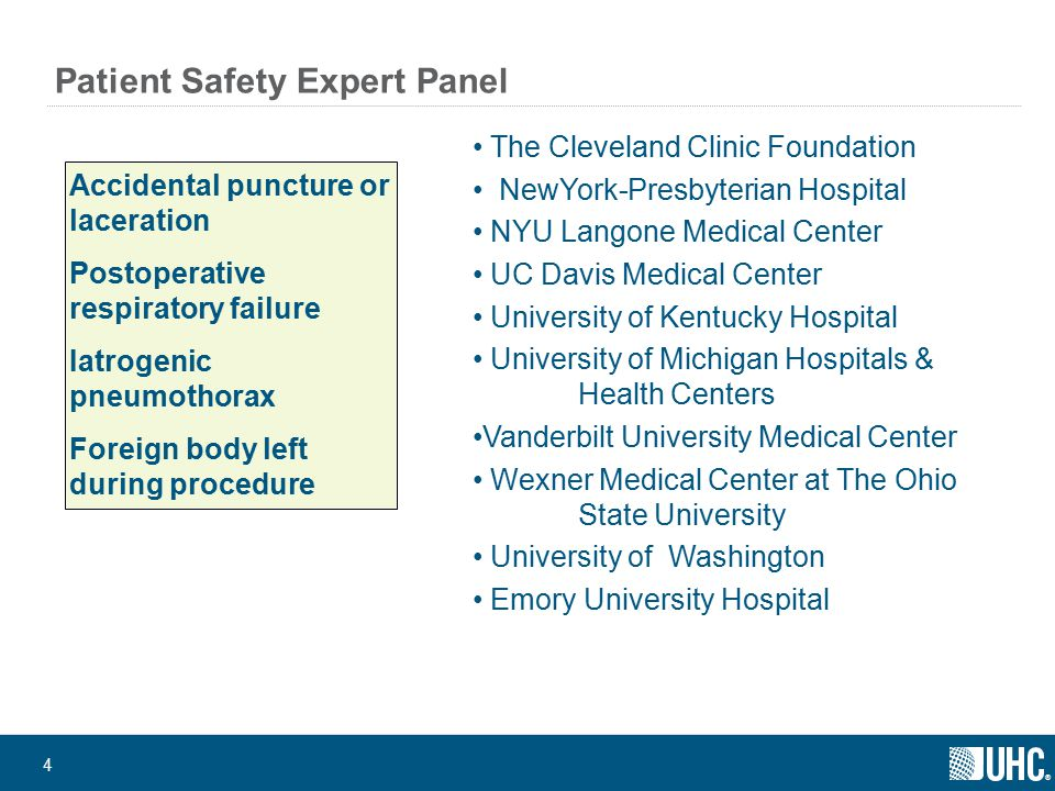 ® 4 Patient Safety Expert Panel Accidental puncture or laceration Postoperative respiratory failure Iatrogenic pneumothorax Foreign body left during procedure The Cleveland Clinic Foundation NewYork-Presbyterian Hospital NYU Langone Medical Center UC Davis Medical Center University of Kentucky Hospital University of Michigan Hospitals & Health Centers Vanderbilt University Medical Center Wexner Medical Center at The Ohio State University University of Washington Emory University Hospital