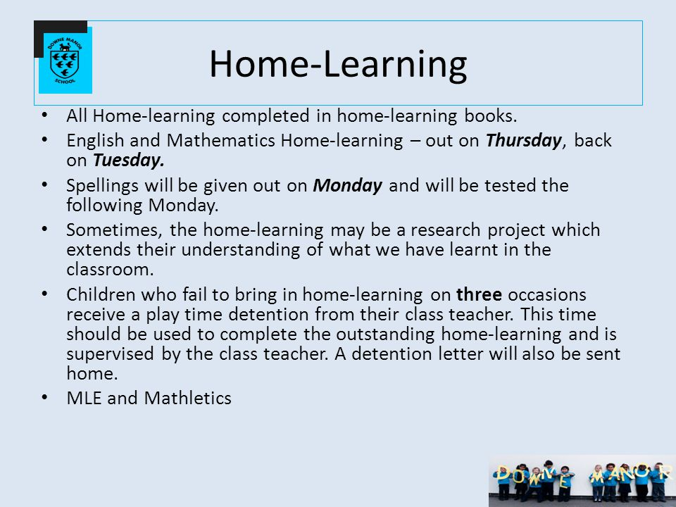 Home-Learning All Home-learning completed in home-learning books.