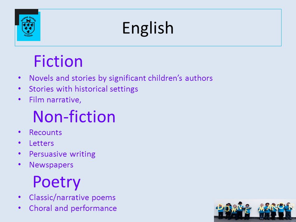 English Fiction Novels and stories by significant children's authors Stories with historical settings Film narrative, Non-fiction Recounts Letters Persuasive writing Newspapers Poetry Classic/narrative poems Choral and performance