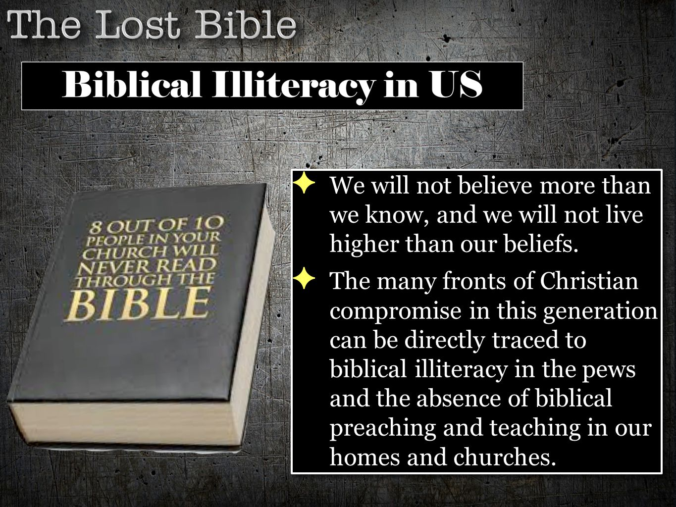 ✦ We will not believe more than we know, and we will not live higher than our beliefs. ✦ The many fronts of Christian compromise in this generation ca