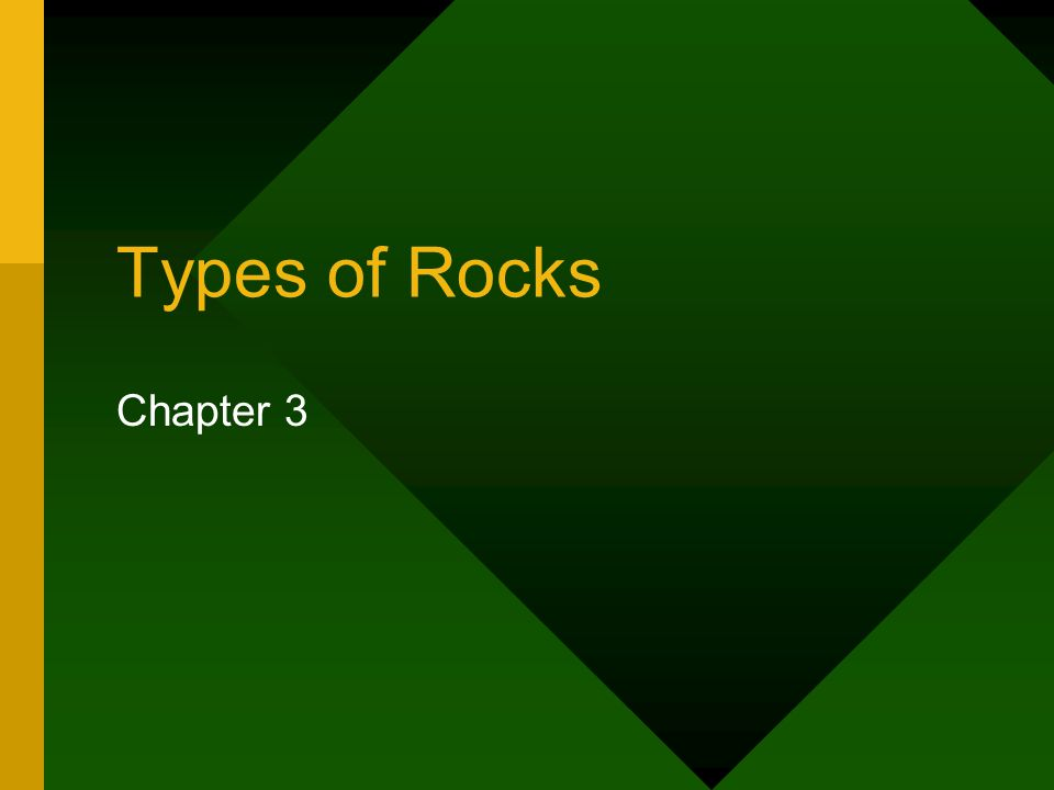 Types of Rocks Chapter 3