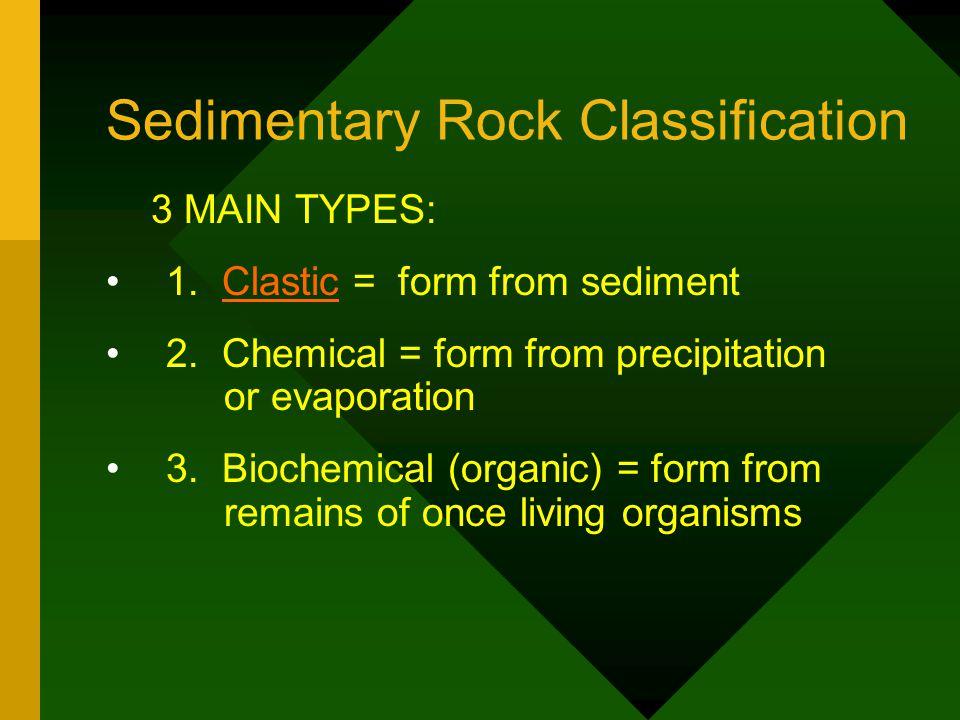 Sedimentary Rock Classification 3 MAIN TYPES: 1. Clastic = form from sedimentClastic 2. Chemical = form from precipitation or evaporation 3. Biochemic