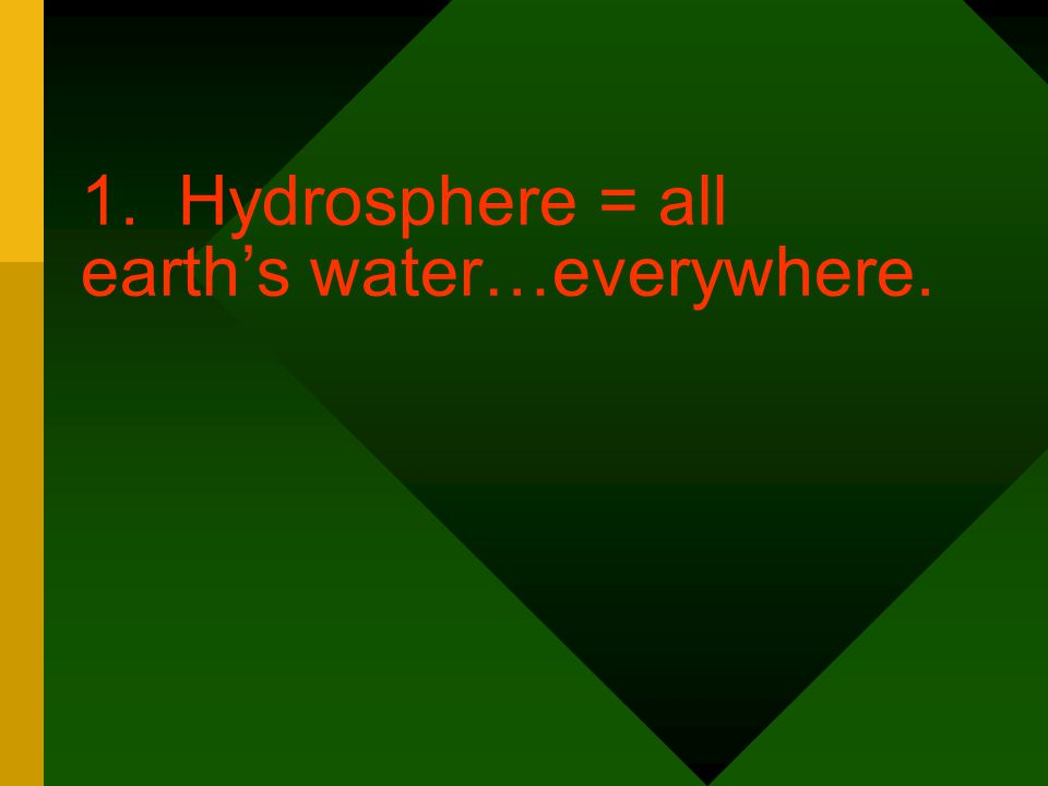 1. Hydrosphere = all earth's water…everywhere.