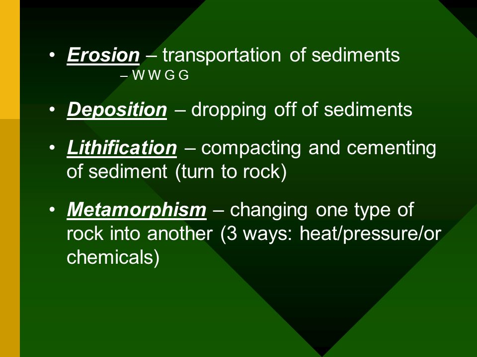 Erosion – transportation of sediments –W W G G Deposition – dropping off of sediments Lithification – compacting and cementing of sediment (turn to rock) Metamorphism – changing one type of rock into another (3 ways: heat/pressure/or chemicals)