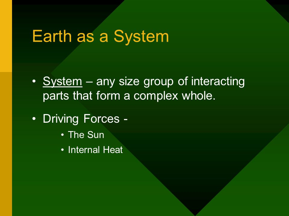 System – any size group of interacting parts that form a complex whole.