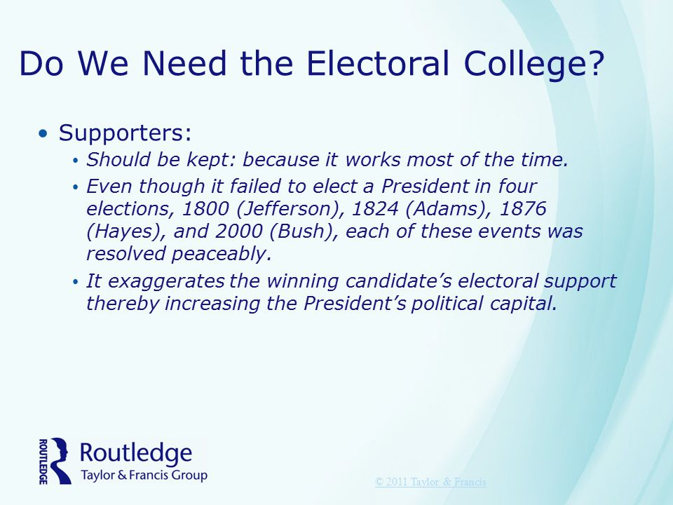 Do We Need the Electoral College? Supporters: Should be kept: because it works most of the time. Even though it failed to elect a President in four el