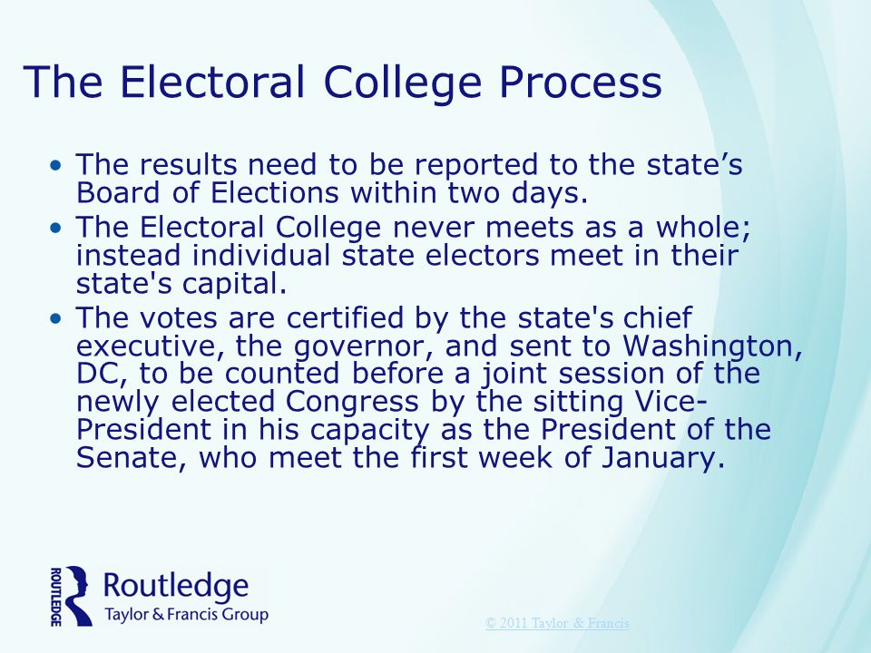 The Electoral College Process The results need to be reported to the state's Board of Elections within two days. The Electoral College never meets as