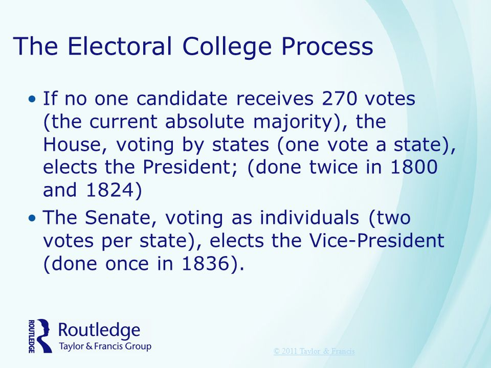 The Electoral College Process If no one candidate receives 270 votes (the current absolute majority), the House, voting by states (one vote a state), elects the President; (done twice in 1800 and 1824) The Senate, voting as individuals (two votes per state), elects the Vice-President (done once in 1836).