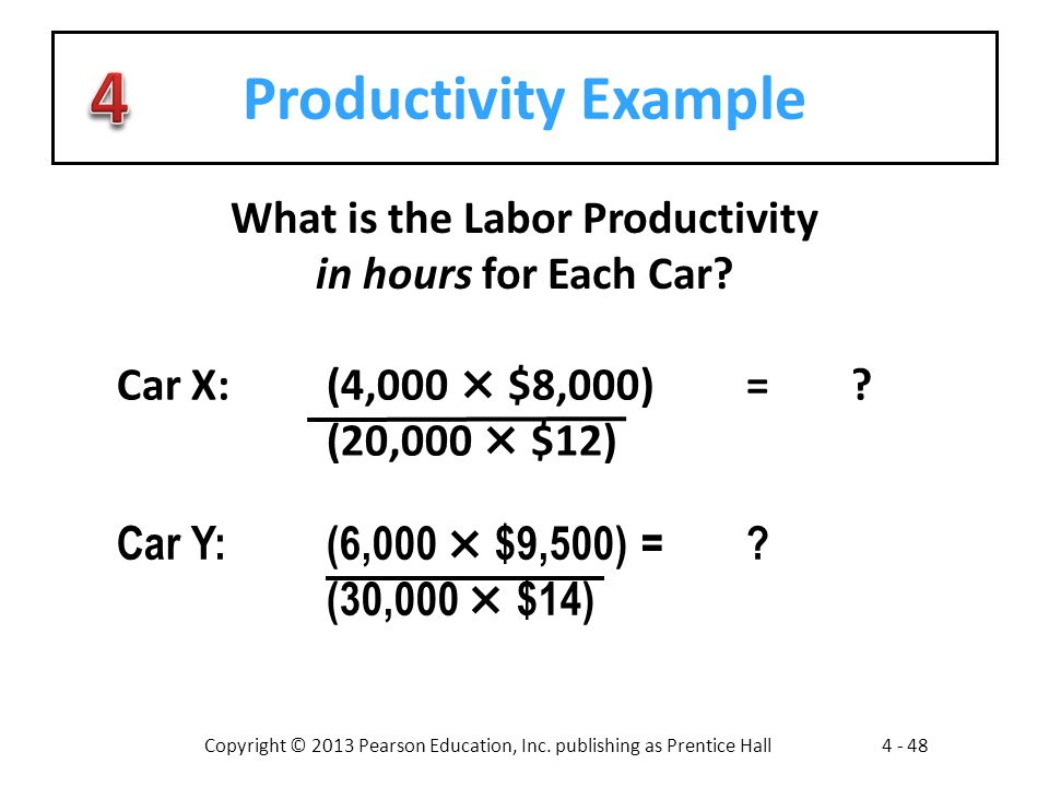 Copyright © 2013 Pearson Education, Inc. publishing as Prentice Hall4 - 48 Productivity Example What is the Labor Productivity in hours for Each Car?