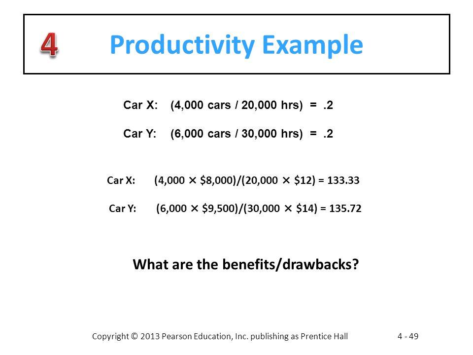 Copyright © 2013 Pearson Education, Inc. publishing as Prentice Hall4 - 49 Productivity Example Car X:(4,000 cars / 20,000 hrs) =.2 Car Y:(6,000 cars