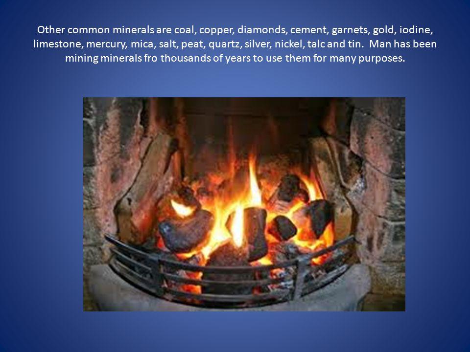 Other common minerals are coal, copper, diamonds, cement, garnets, gold, iodine, limestone, mercury, mica, salt, peat, quartz, silver, nickel, talc and tin.