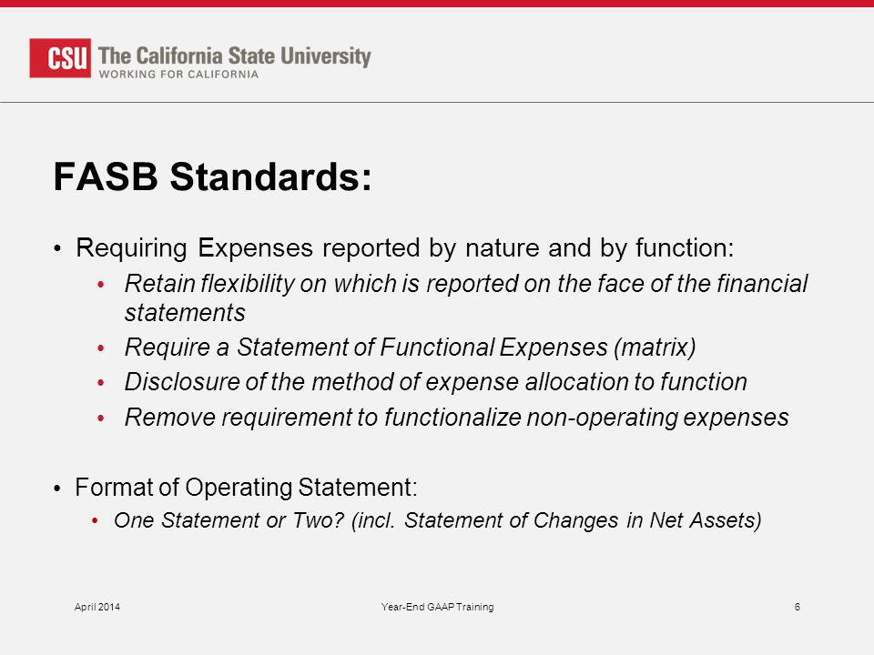 FASB Standards: Requiring Expenses reported by nature and by function: Retain flexibility on which is reported on the face of the financial statements Require a Statement of Functional Expenses (matrix) Disclosure of the method of expense allocation to function Remove requirement to functionalize non-operating expenses Format of Operating Statement: One Statement or Two.