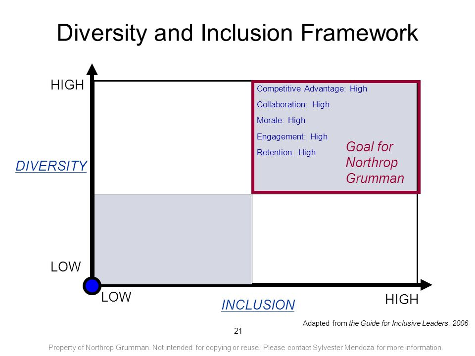 21 Diversity and Inclusion Framework LOW HIGH Competitive Advantage: High Collaboration: High Morale: High Engagement: High Retention: High LOW HIGH A