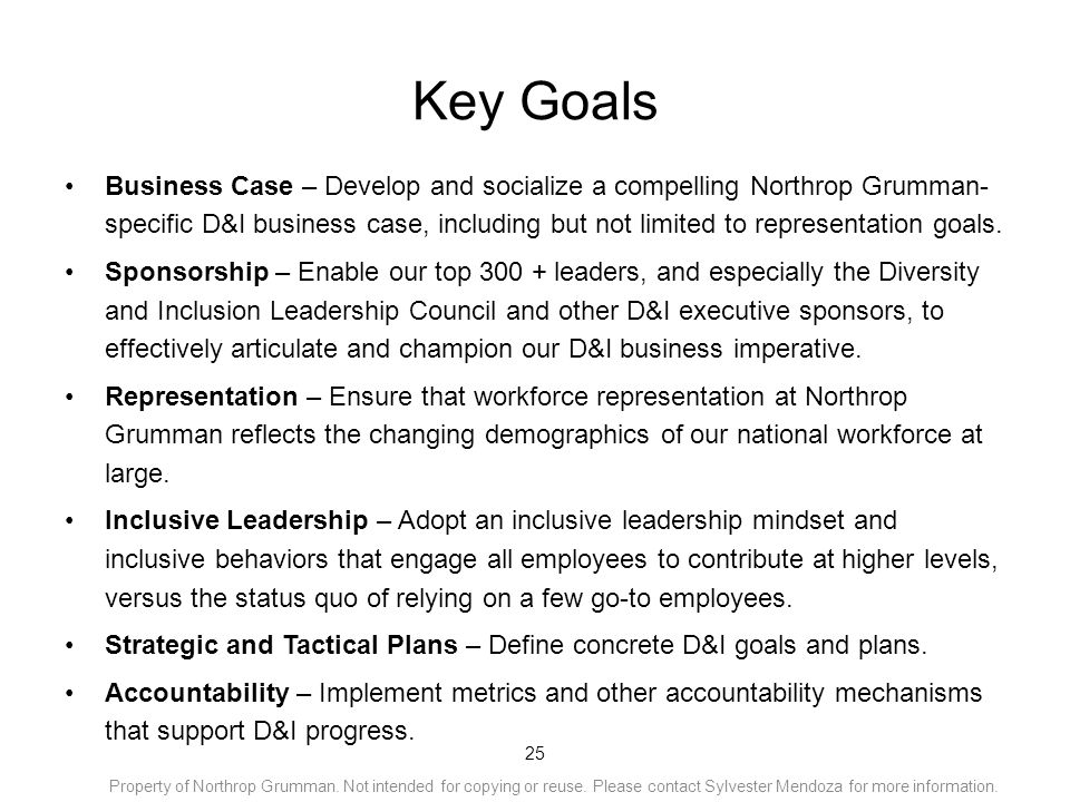 Key Goals Business Case – Develop and socialize a compelling Northrop Grumman- specific D&I business case, including but not limited to representation goals.