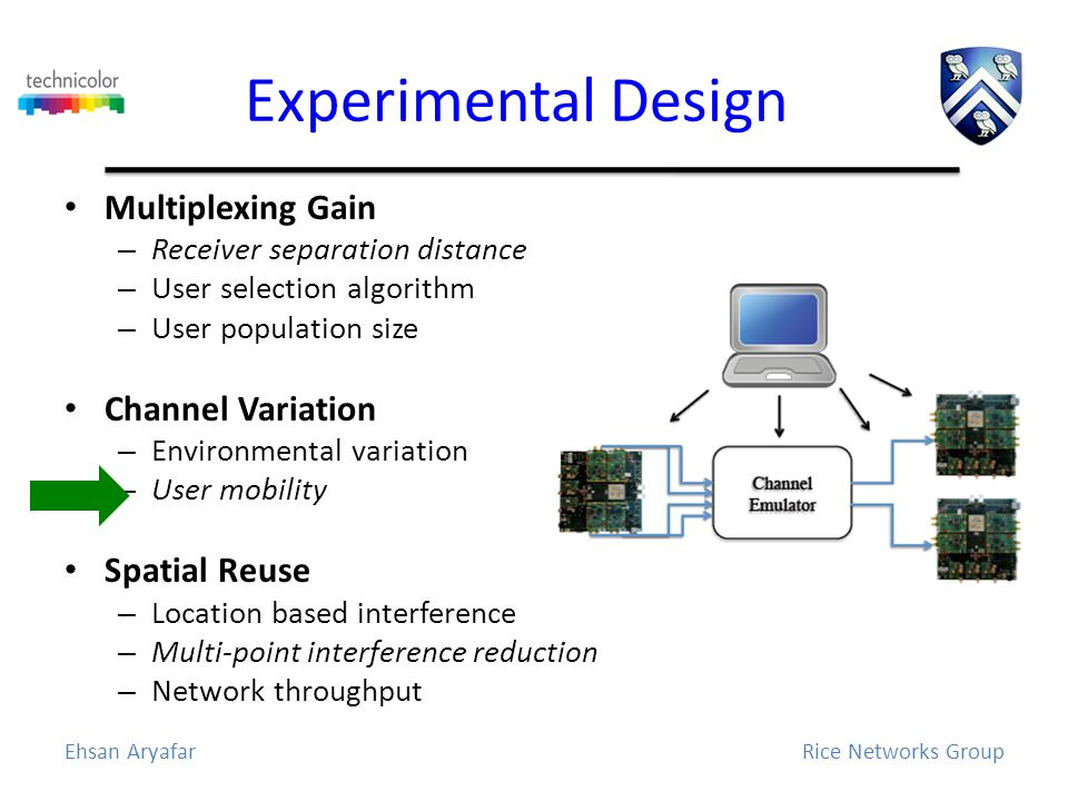 Experimental Design Multiplexing Gain – Receiver separation distance – User selection algorithm – User population size Channel Variation – Environmental variation – User mobility Spatial Reuse – Location based interference – Multi-point interference reduction – Network throughput Ehsan AryafarRice Networks Group