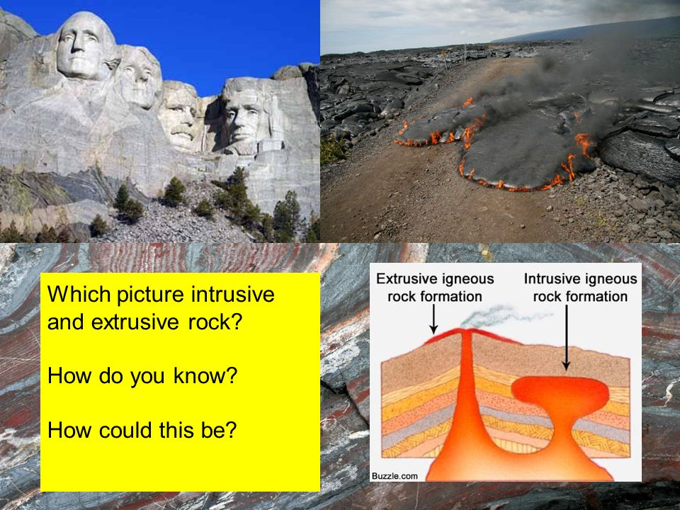 Which picture intrusive and extrusive rock? How do you know? How could this be?