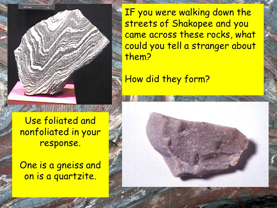 IF you were walking down the streets of Shakopee and you came across these rocks, what could you tell a stranger about them? How did they form? Use fo