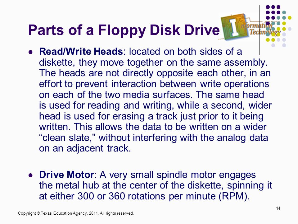 Parts of a Floppy Disk Drive Read/Write Heads: located on both sides of a diskette, they move together on the same assembly.