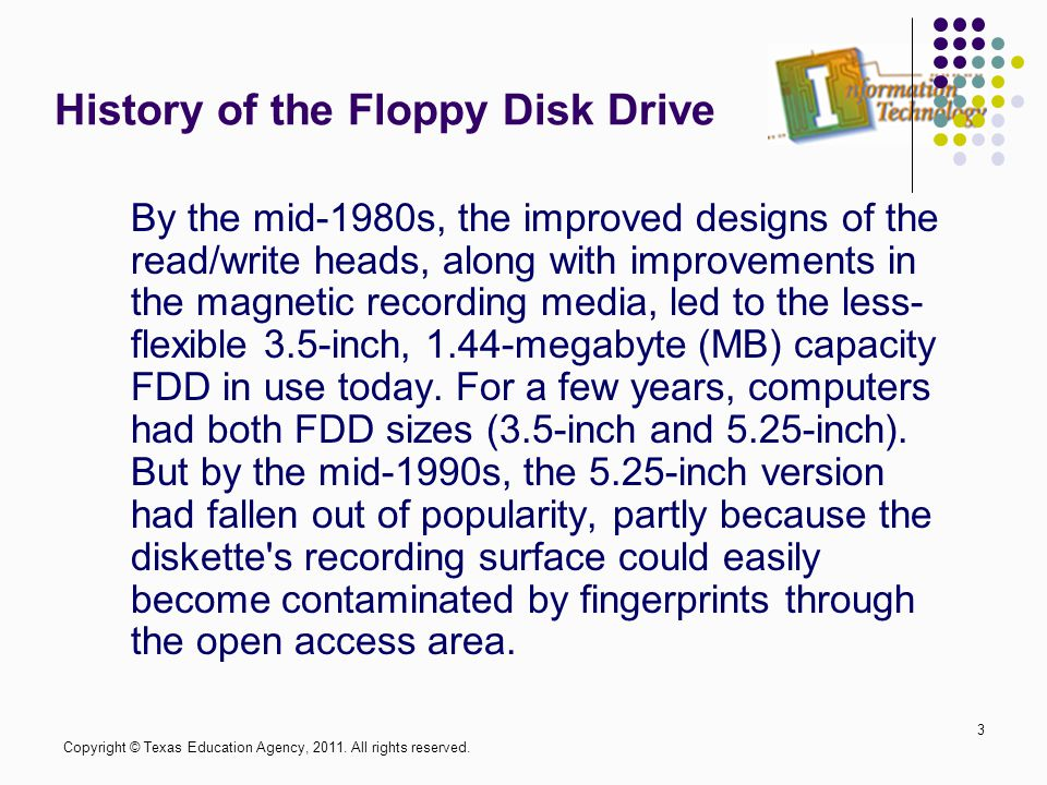 History of the Floppy Disk Drive By the mid-1980s, the improved designs of the read/write heads, along with improvements in the magnetic recording med