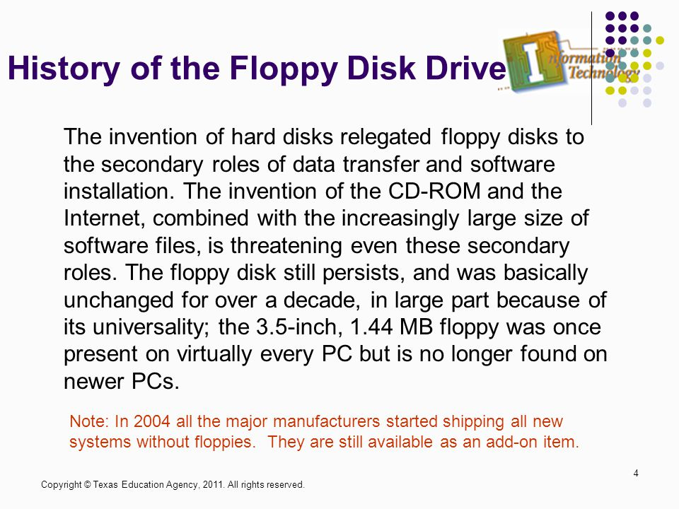 History of the Floppy Disk Drive 4 The invention of hard disks relegated floppy disks to the secondary roles of data transfer and software installation.