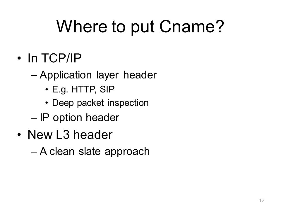 Where to put Cname. In TCP/IP –Application layer header E.g.