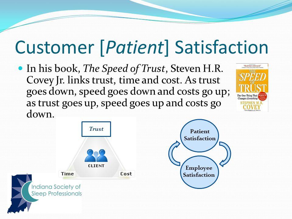 Customer [Patient] Satisfaction In his book, The Speed of Trust, Steven H.R.