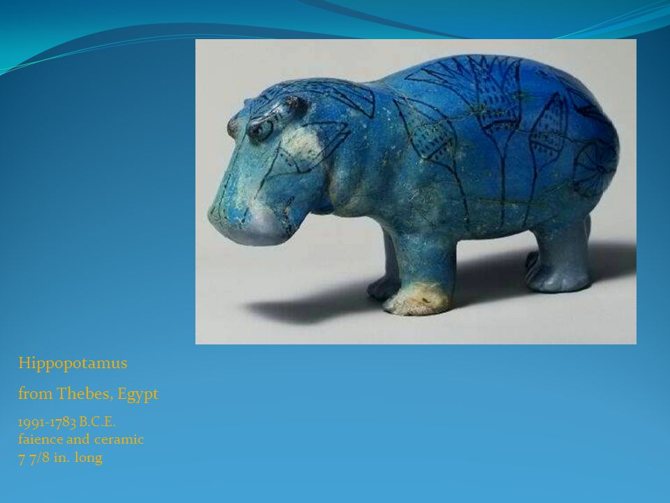 Hippopotamus from Thebes, Egypt 1991-1783 B.C.E. faience and ceramic 7 7/8 in. long