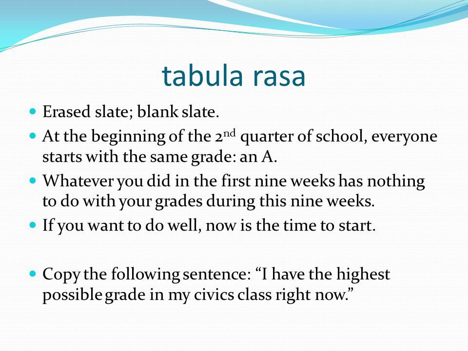 tabula rasa Erased slate; blank slate.