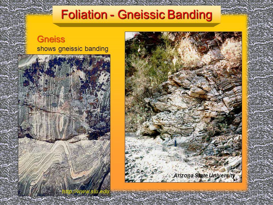 Metamorphic rock with aligned flat minerals http://www.tulane.edu/~sanelson/geol212/contactmeta.htm Low GradeHigh GradeSchistSchistSlateSlateGneissGneiss http://hyperphysics.phy-astr.gsu.edu/hbase/geophys