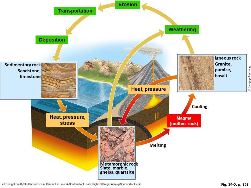 © Cengage Learning 2015 Fig. 14-5, p. 353 Erosion Transportation Weathering Deposition Igneous rock Granite, pumice, basalt Sedimentary rock Sandstone
