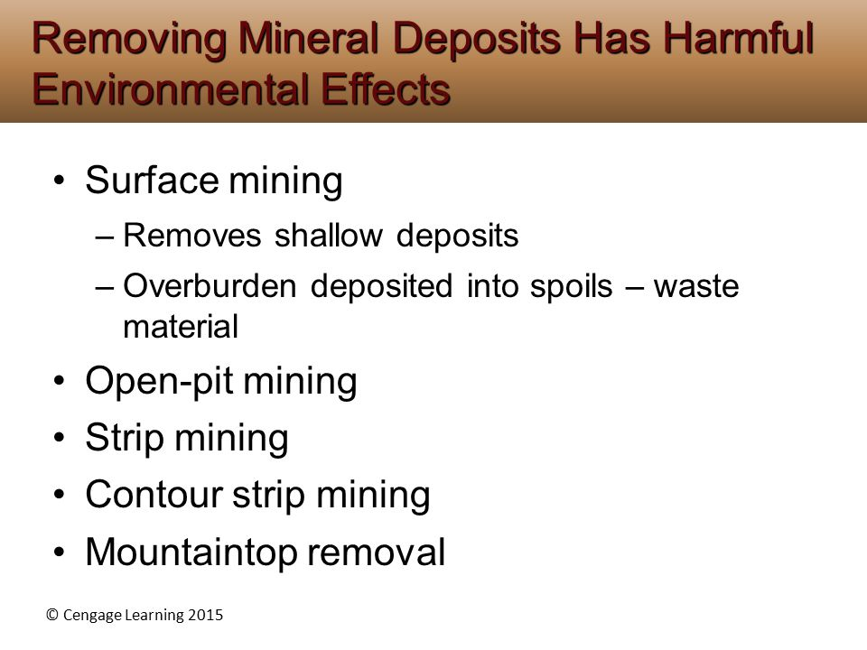 © Cengage Learning 2015 Surface mining –Removes shallow deposits –Overburden deposited into spoils – waste material Open-pit mining Strip mining Contour strip mining Mountaintop removal Removing Mineral Deposits Has Harmful Environmental Effects