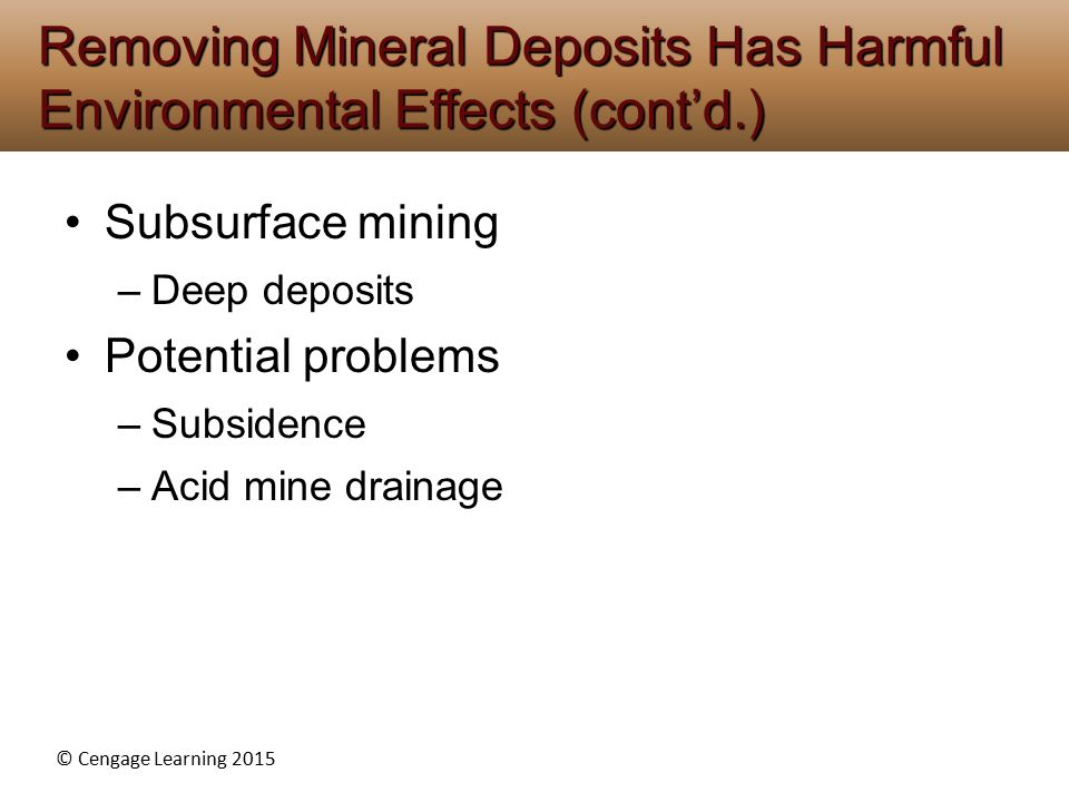 © Cengage Learning 2015 Subsurface mining –Deep deposits Potential problems –Subsidence –Acid mine drainage Removing Mineral Deposits Has Harmful Envi