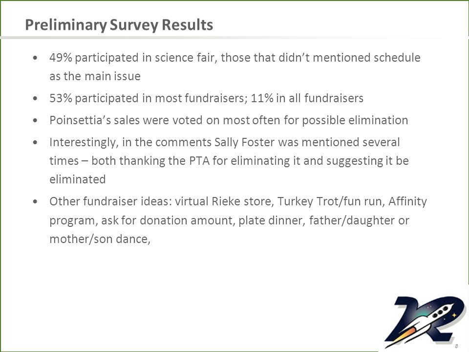8 Preliminary Survey Results 49% participated in science fair, those that didn't mentioned schedule as the main issue 53% participated in most fundraisers; 11% in all fundraisers Poinsettia's sales were voted on most often for possible elimination Interestingly, in the comments Sally Foster was mentioned several times – both thanking the PTA for eliminating it and suggesting it be eliminated Other fundraiser ideas: virtual Rieke store, Turkey Trot/fun run, Affinity program, ask for donation amount, plate dinner, father/daughter or mother/son dance,