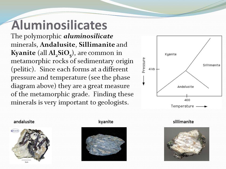 Aluminosilicates The polymorphic aluminosilicate minerals, Andalusite, Sillimanite and Kyanite (all Al 2 SiO 5 ), are common in metamorphic rocks of sedimentary origin (pelitic).