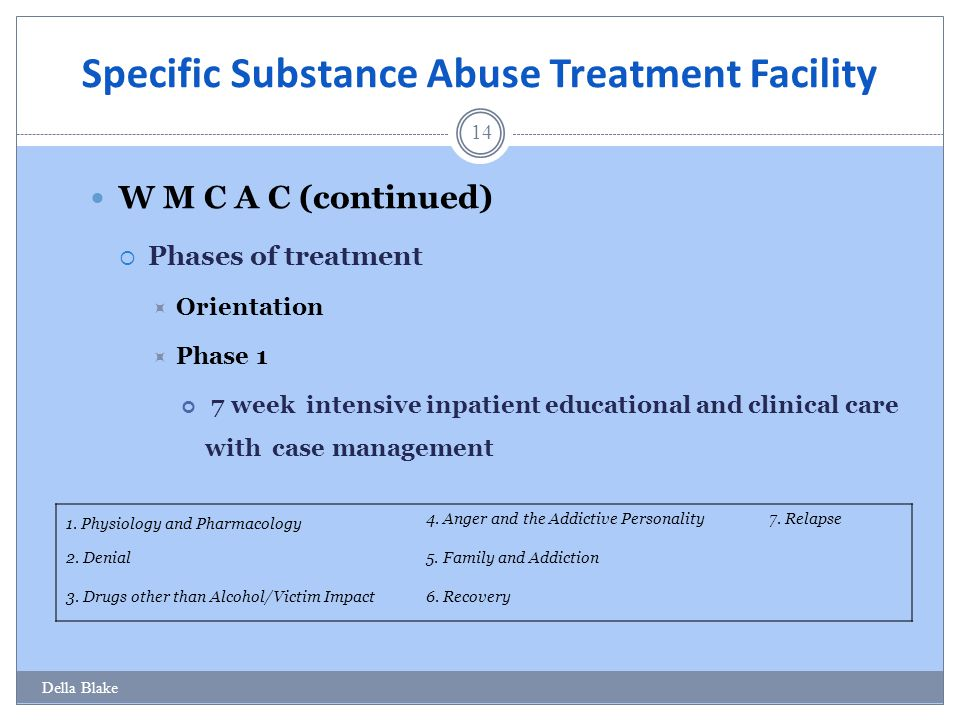 Specific Substance Abuse Treatment Facility 14 W M C A C (continued)  Phases of treatment  Orientation  Phase 1 7 week intensive inpatient educational and clinical care with case management Della Blake 1.