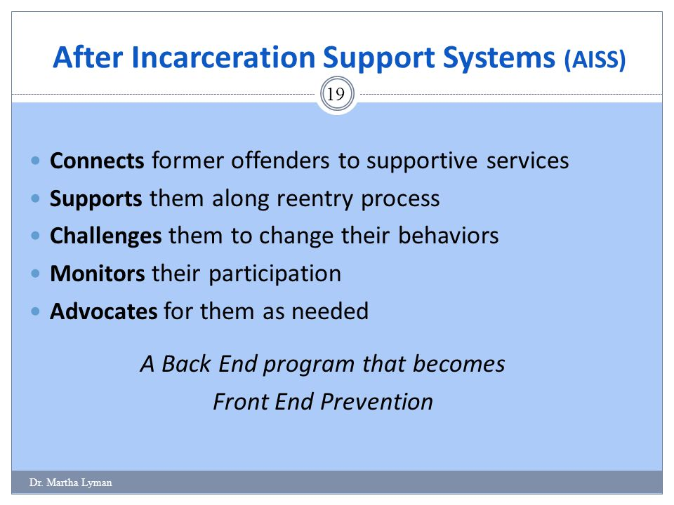 Connects former offenders to supportive services Supports them along reentry process Challenges them to change their behaviors Monitors their particip