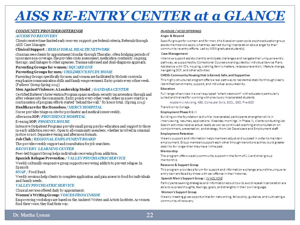 AISS RE-ENTRY CENTER at a GLANCE IN-HOUSE / HCSD OFFERINGS Anger & Beyond Specific groups for women and for men, this 4-session open-cycle psycho-educ